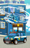 Cartoon happy and funny police car and helicopter Royalty Free Stock Images