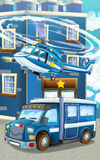 Cartoon happy and funny police car and helicopter Royalty Free Stock Photos