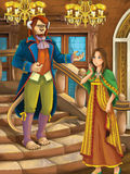 Cartoon happy and funny scene - beast prince and girl talking in the castle Royalty Free Stock Images