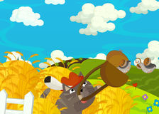 Cartoon happy and funny scene with boy and cat on the farm Royalty Free Stock Photography