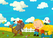 Cartoon happy and funny scene with boy and cat - friends - talking together Stock Image