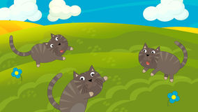 Cartoon happy and funny scene with cats on the colorful meadow. Happy and funny traditional illustration for children - scene for different usage Royalty Free Stock Photo