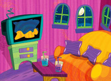Cartoon happy and funny scene - empty room - for different usage Stock Image