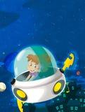 Cartoon happy and funny scene of girl flying Royalty Free Stock Photo