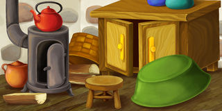Cartoon happy and funny scene of old style kitchen - for different usage Royalty Free Stock Photography