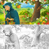 Cartoon happy and funny scene with old woman peasant or witch holding or gathering fruits or talking - with coloring page Royalty Free Stock Photos