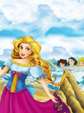 Cartoon happy and funny scene with princess standing on the shore near big shell and some magical things happen - beautiful manga Stock Photos