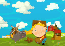 Cartoon happy and funny scene with young man and cat Royalty Free Stock Images