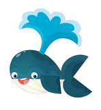 Cartoon happy and funny sea whale with bubbles isolated Stock Photography