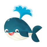 Cartoon happy and funny sea whale with bubbles isolated Royalty Free Stock Photography