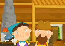Cartoon happy and funny traditional scene with family - couple in old house. Happy and funny traditional illustration for children - scene for different fairy Stock Photography
