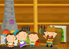 Cartoon happy and funny traditional scene with family in old house Royalty Free Stock Photo