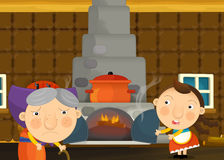 Cartoon happy and funny traditional scene with young girl and grandmother Royalty Free Stock Images