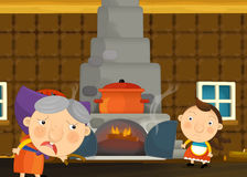 Cartoon happy and funny traditional scene with young girl and grandmother Royalty Free Stock Photo