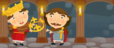 Cartoon happy and funny two knights or kings in the castle room talking Stock Image