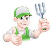 Cartoon Happy Gardener With Fork Royalty Free Stock Image