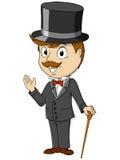 Cartoon happy gentleman with stick. Cartoon smiling happy gentleman with stick. Vector illustration Stock Image