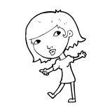 Cartoon happy girl gesturing to follow Stock Images