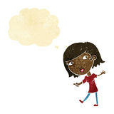 cartoon happy girl gesturing to follow with thought bubble Royalty Free Stock Photography
