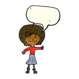 Cartoon happy girl giving thumbs up symbol with speech bubble Royalty Free Stock Image