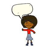 Cartoon happy girl giving thumbs up symbol with speech bubble Stock Images