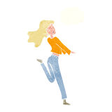 cartoon happy girl kicking out leg with thought bubble Royalty Free Stock Image
