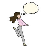 cartoon happy girl kicking out leg with thought bubble Stock Images