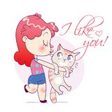 Cartoon happy girl kissing and strongly cuddling cat. Funny cartoon character. Vector illustration. on white background vector illustration