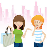 Cartoon happy girl talking after shopping Royalty Free Stock Images