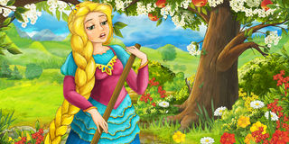 Cartoon happy girl under apple tree near the meadow Stock Photo