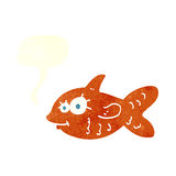 Cartoon happy goldfish with speech bubble Royalty Free Stock Photography