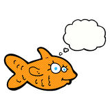Cartoon happy goldfish with thought bubble Stock Photography