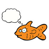 Cartoon happy goldfish with thought bubble Stock Photo