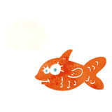 Cartoon happy goldfish with thought bubble Stock Photos