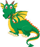 Cartoon happy green dragon Stock Photos