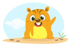 Cartoon happy groundhog or marmot or woodchuck waving his hands. Vector illustration. Groundhog day.  Stock Images