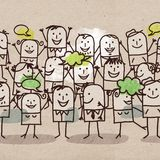 Cartoon Happy Group of People Stock Images