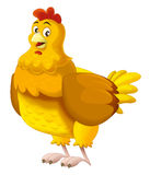 Cartoon happy hen - isolated Royalty Free Stock Photo