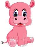 Cartoon happy hippo sitting Royalty Free Stock Photos