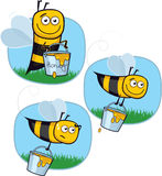 Cartoon Happy Honeybee Stock Photo
