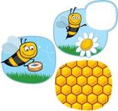Cartoon Happy Honeybee. Set of Cartoon Happy Honeybee Icons stock illustration