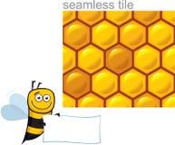 Cartoon Happy Honeybee. Set of Cartoon Happy Honeybee with Seamless Honeycombs Tile royalty free illustration