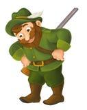 Cartoon happy hunter illustration for children Royalty Free Stock Photos