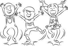 Cartoon happy jumping kids Royalty Free Stock Photography