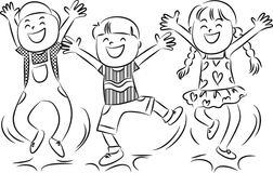Cartoon happy jumping kids Stock Images