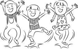 Cartoon happy jumping kids royalty free illustration
