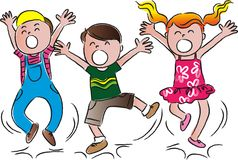 Cartoon happy jumping kids Royalty Free Stock Image