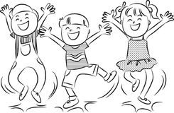 Cartoon happy jumping kids Royalty Free Stock Images