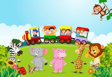 Cartoon Happy kids on a colorful train with animal