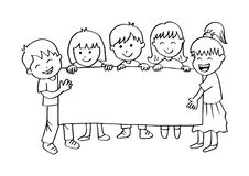 Cartoon happy kids holding banner. Black and white vector illustration